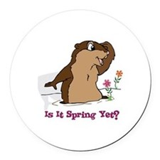Is It Spring Yet Round Car Magnet