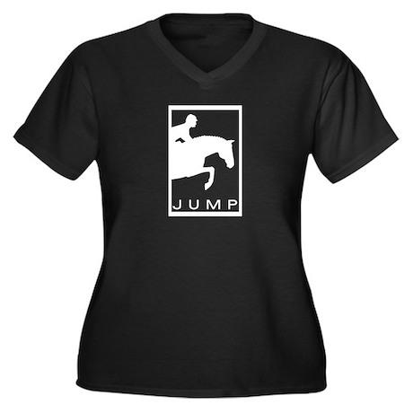 """JUMP"" Hunter Jumper Women's Plus Size V-Neck Dark"