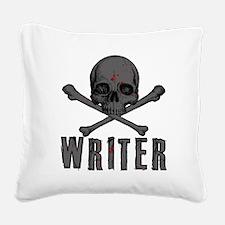 Writer-skull-splatter Square Canvas Pillow
