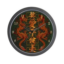 Harvest Moons Red Dragons Wall Clock