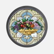 Harvest Moons Fruit & Flowers Bowl Wall Clock