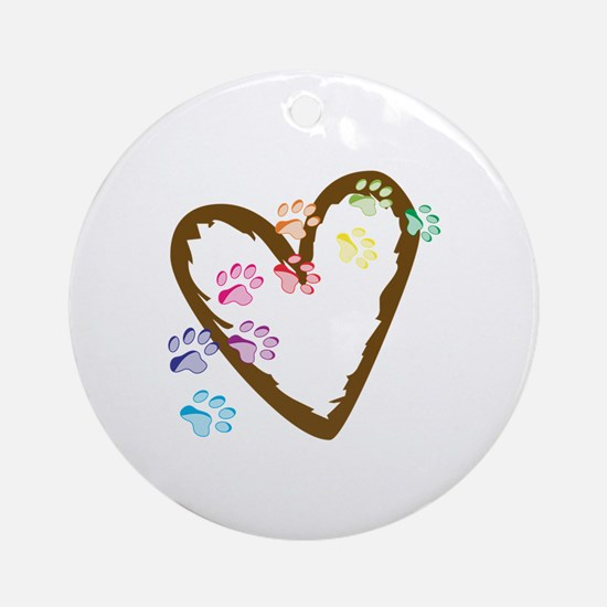 paw hearts Ornament (Round)