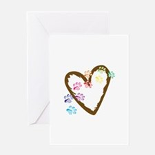 paw hearts Greeting Cards