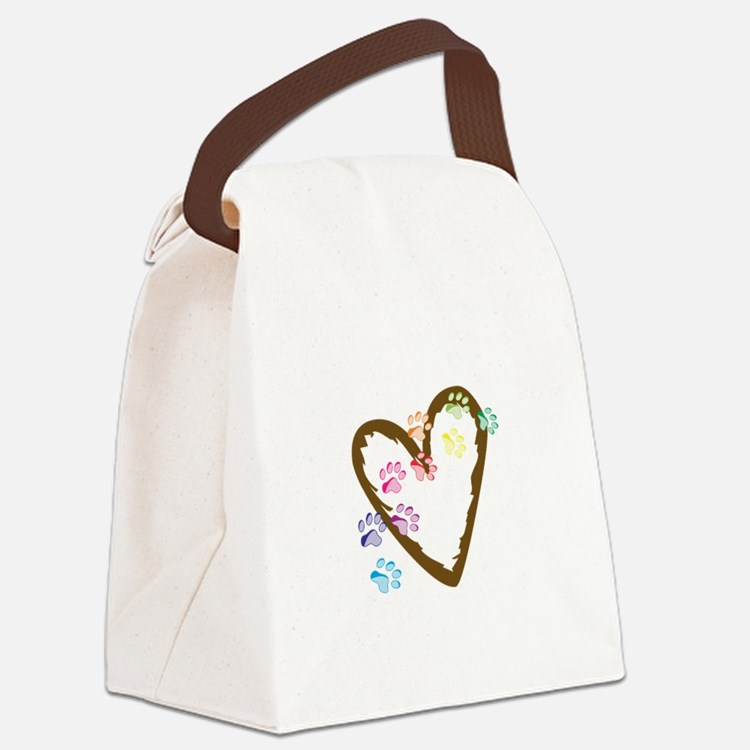 paw hearts Canvas Lunch Bag