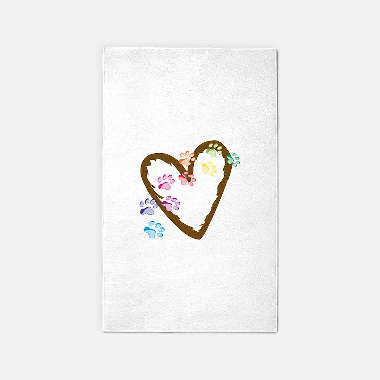 paw hearts 3'x5' Area Rug