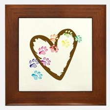paw hearts Framed Tile