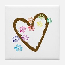 paw hearts Tile Coaster