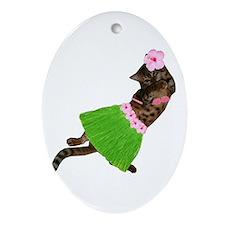 Hula Cat Ornament (Oval)