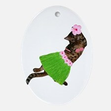 Hula Cat Ornament (Oval)