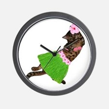 Hula Cat Wall Clock