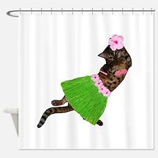 Hula Cat Shower Curtain