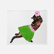 Hula Cat Throw Blanket