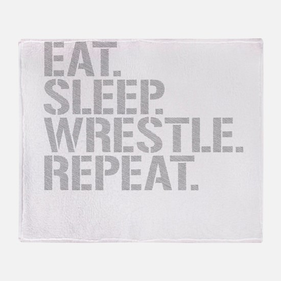 Eat Sleep Wrestle Repeat Throw Blanket