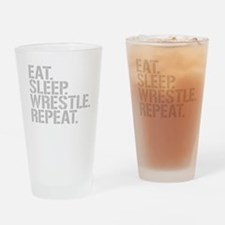 Eat Sleep Wrestle Repeat Drinking Glass