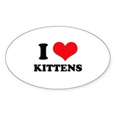I Heart Kittens Oval Decal