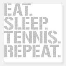 "Eat Sleep Tennis Repeat Square Car Magnet 3"" x 3"""