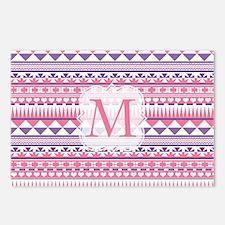 Monogram Pink Purple Aztec Postcards (Package of 8