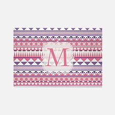 Monogram Pink Purple Aztec Magnets