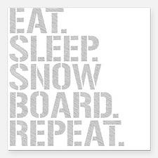 Eat Sleep Snowboard Repeat Square Car Magnet 3