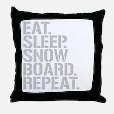Eat Sleep Snowboard Repeat Throw Pillow