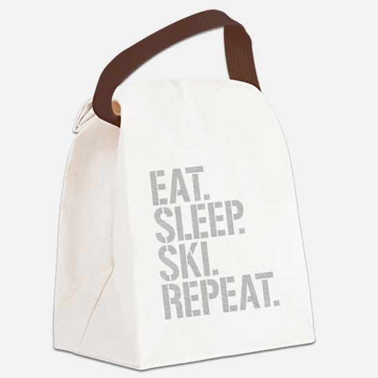 Eat Sleep Ski Repeat Canvas Lunch Bag