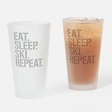 Eat Sleep Ski Repeat Drinking Glass