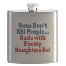 Dads with Pretty Daughters Funny Fathers Day Flask
