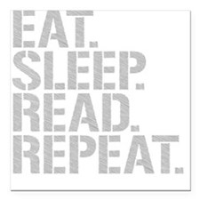 "Eat Sleep Read Repeat Square Car Magnet 3"" x 3"""