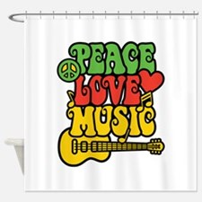 Peace-Love-Music Shower Curtain