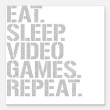 """Eat Sleep Video Games Repeat Square Car Magnet 3"""""""