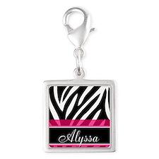 Black Pink Zebra Personalized Charms