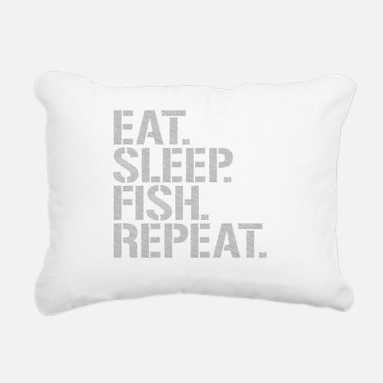 Eat Sleep Fish Repeat Rectangular Canvas Pillow