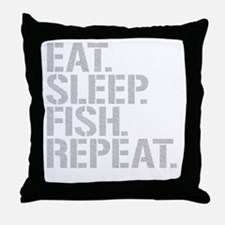 Eat Sleep Fish Repeat Throw Pillow