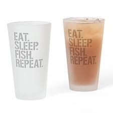 Eat Sleep Fish Repeat Drinking Glass