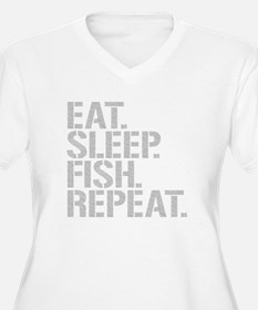 Eat Sleep Fish Repeat Plus Size T-Shirt