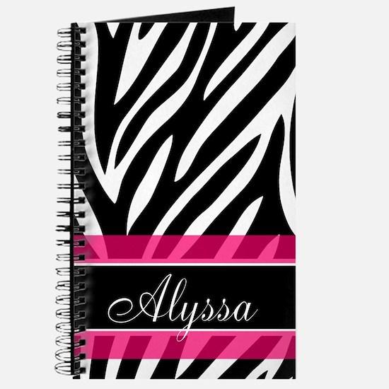 Zebra Print Pink Personalized Journal