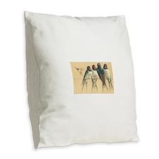 Birds-on-a-wire Burlap Throw Pillow