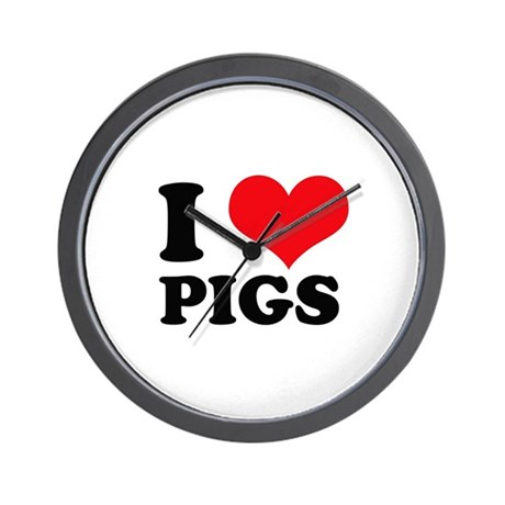 I Heart Pigs Wall Clock
