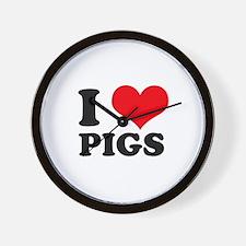 I Heart Pigs Wall Clock