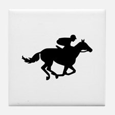 Horse race racing Tile Coaster