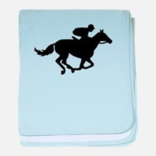 Horse race racing baby blanket