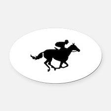 Horse race racing Oval Car Magnet