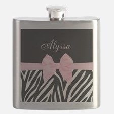 Black Pink Bow Zebra Personalized Flask