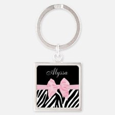 Black Pink Bow Zebra Personalized Keychains
