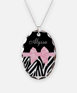 Black Pink Bow Zebra Personalized Necklace