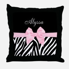 Black Pink Bow Zebra Personalized Throw Pillow
