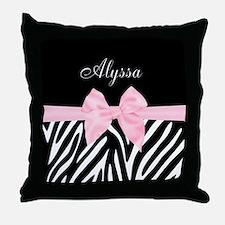 Black Pink Bow Zebra Personalized Throw Pillow