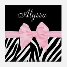 Black Pink Bow Zebra Personalized Tile Coaster