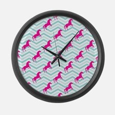 Pink Horse, Equestrian, Teal Green Blue Large Wall