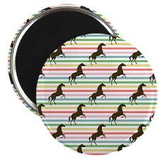 Cute Horse, Equestrian, Rainbow Pattern Magnets